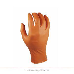 104442 - Guante desechable nitrilo Grippaz L-9 escamado naranja